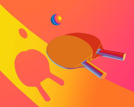 Rackets and ball for table tennis on yellow and red background Sport colorful picture for web, print, presentation. Creative stock sport illustration. 3d illustration Stock Photo