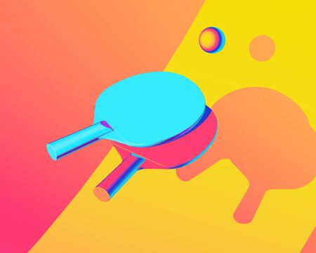 table tennis illustration. Sport colorful picture for web, print, presentation. Creative stock sport illustration. 3d illustration