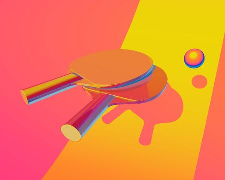 table tennis illustration. Sport colorful picture for web, print, presentation. Creative stock sport illustration. 3d illustration Stock Illustration - 135473147