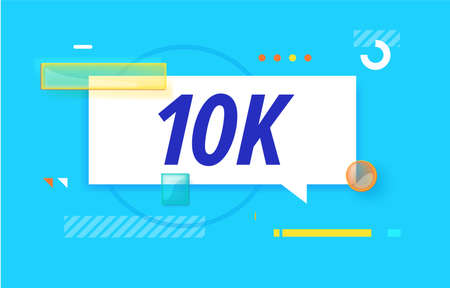 10k or 10000 followers in design banner. vector template for web, vlog, blog