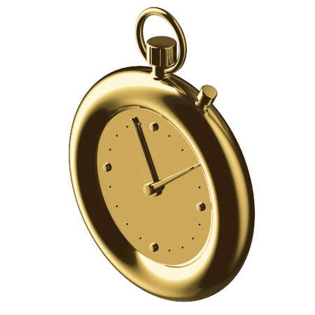STOPWATCH 3D illustration in cartoon metal style not white background.
