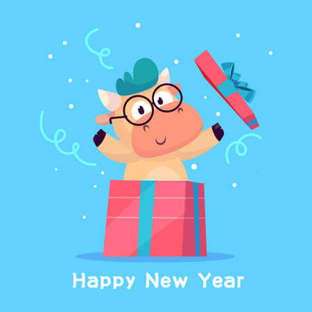 Little bull jumps out of the gift box. Year of the bull. Happy new Year greeting cards design with Christmas characters.