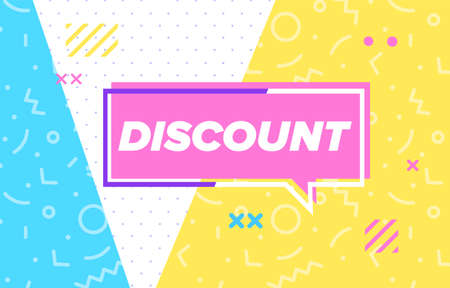 DISCOUNT in design banner. vector template for web, print, presentation . Simple banner with minimal phrase. Trendy flat geometric print. Creative vector stock decoration. 向量圖像