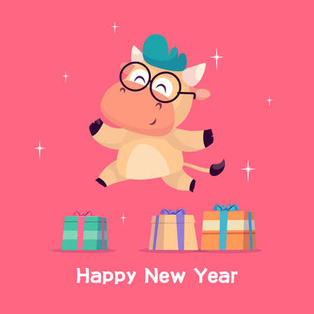 Little bull jumps near the gift box. Year of the bull. Happy new Year greeting cards design with Christmas characters.