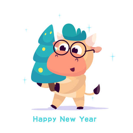 A small bull carries a decorated Christmas tree to celebrate the new year