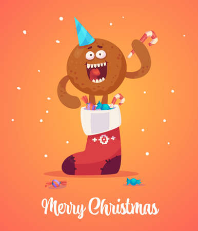 Happy new Year greeting cards design with Christmas characters. Vector illustration for banners web or prints