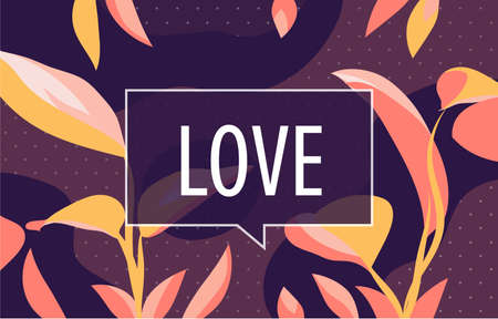 LOVE in design banner. vector template for web, print, presentation . Simple floral banner with minimal phrase. 向量圖像