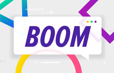 BOOM in design banner. vector template for web, print, presentation . Simple banner with minimal phrase. Trendy flat geometric print. Creative vector stock decoration. 向量圖像