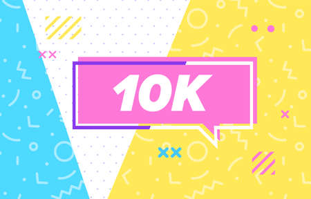 10 k or 10000 in design banner. vector template for web, print, presentation . Simple banner with minimal phrase. Trendy flat geometric print. Creative vector stock decoration. 向量圖像