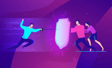 Vector business concept illustration. Businessmen man and woman are under protection.