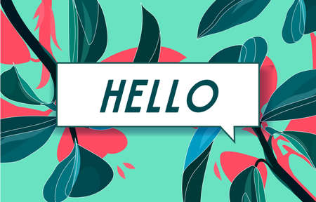 HELO in design banner. vector template for web, print, presentation . Simple banner with minimal phrase. Trendy flat geometric print. Creative vector stock decoration.