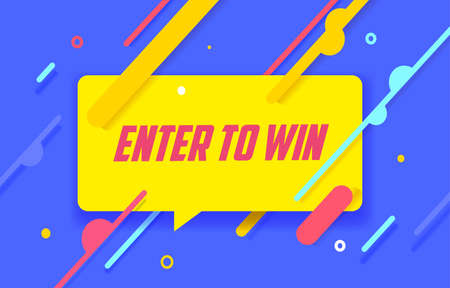 ENTER TO WIN in design banner. vector template for web, print, presentation . Simple banner with minimal phrase. Trendy flat geometric print. Creative vector stock decoration. 向量圖像