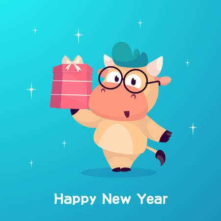 Little bull holds in a box with a gift. Year of the bull. Happy new Year greeting cards design with Christmas characters.
