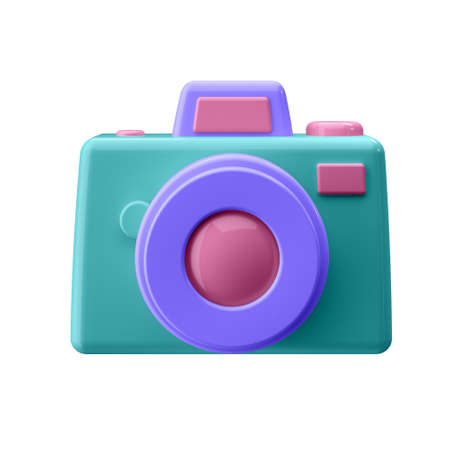 Camera in cartoon style not white background. Well suited for a landing page, mobile app, or website. 3D illustration