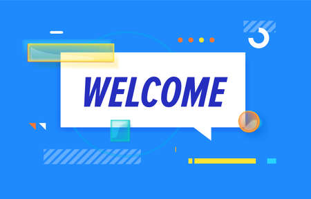 WELCOME in design banner. vector template for web, print, presentation . Simple banner with minimal phrase. Trendy flat geometric print. Creative vector stock decoration.