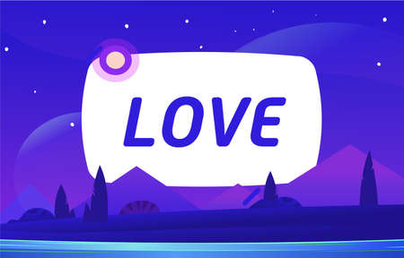 LOVE Vector night environment with sky clouds. Moonlight.