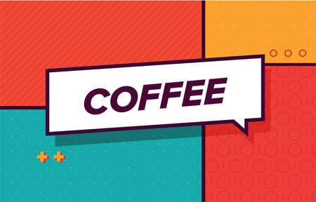 COFFEE in colorful design banner. 向量圖像