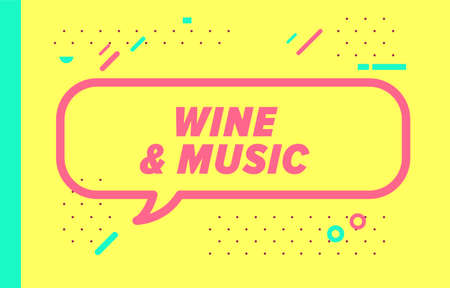 WINE AND MUSIC in design banner.