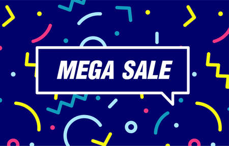 MEGA SALE in design banner. vector template for web, print, presentation . Simple banner with minimal phrase. Trendy flat geometric print. Creative vector stock decoration. 向量圖像