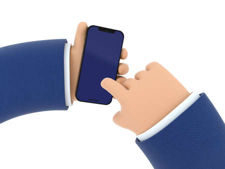 3D illustration. Hand holds the phone. Man presses on the phone screen.