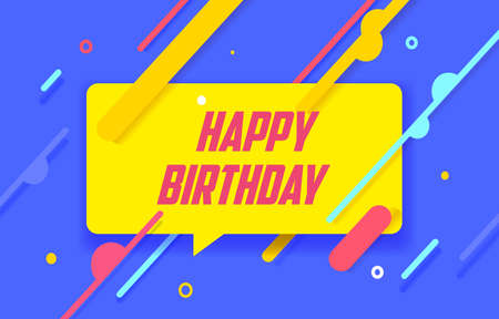HAPPY BIRTHDAY in design banner. vector template for web, print, presentation . Simple banner with minimal phrase. Trendy flat geometric print. Creative vector stock decoration. 向量圖像