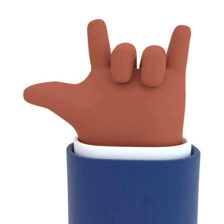 3D illustration. Rock gesture hand icon of an African American. Hand in cartoon style not white background.
