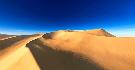 Beautiful sand dunes. Desert landscape with sun. Desert landscape panorama. sunset or sunrise over the sands, 3D rendering 版權商用圖片