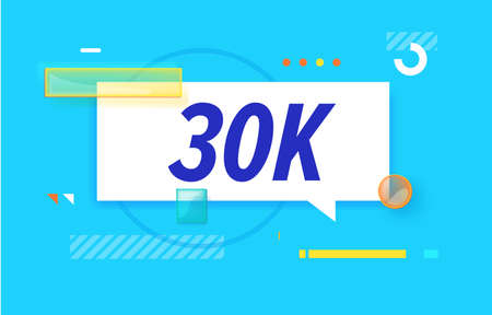 30 k followers in design banner. vector template for web, print, presentation . Simple banner with minimal phrase. Trendy flat geometric print. Creative vector stock decoration.