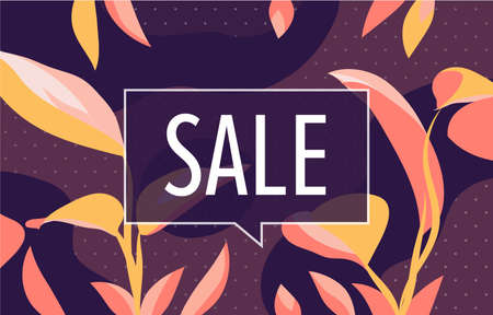 SALE in design banner. vector template for web, print, presentation . Simple floral banner with minimal phrase. 向量圖像