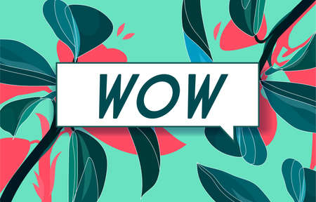 WOW in design banner. vector template for web, print, presentation . Simple banner with minimal phrase. Trendy flat geometric print. Creative vector stock decoration.