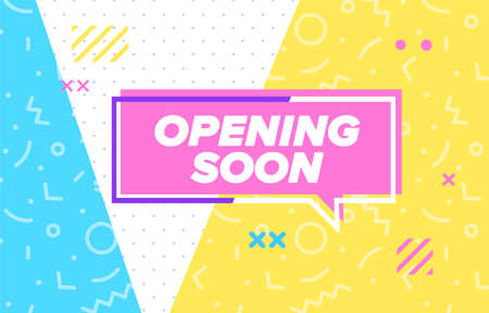 OPENING SOON in design banner. vector template for web, print, presentation . Simple banner with minimal phrase. Trendy flat geometric print. Creative vector stock decoration. 向量圖像