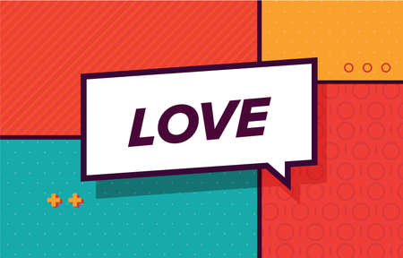 LOVE in design banner. vector template for web, print, presentation . Simple banner with minimal phrase. Trendy flat geometric print. Creative vector stock decoration.