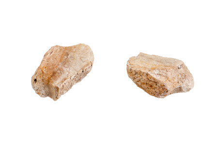 Stone isolated on white background. Close-up view from one side and other side.