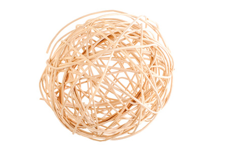 Decorative wicker ball isolated on white background. dry twigs rolled in a sphere. Reklamní fotografie
