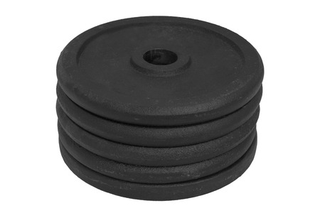 stack of same size dumbbell discs isolated on white background.