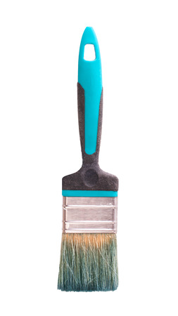 blue paint brush isolated on white background closeup. Archivio Fotografico