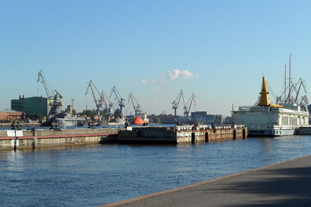 commercial port, shipping conteiners terminal, freight cranes