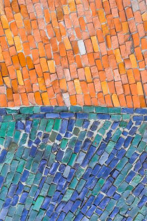 blue and orange surface of abstract colorful smalt mosaic with high resolution for background.