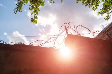 Concrete prison fence surrounded by barbed wire against sky, green leaves of trees and bright sunlight. Specially protected object. Concept of limited freedom and independence.