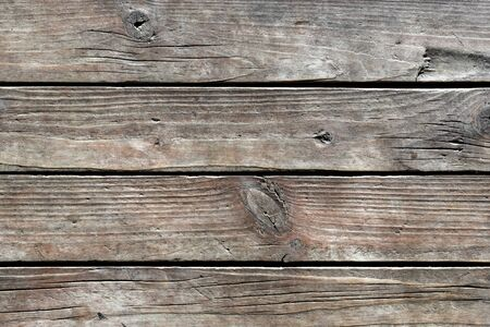 Texture of old weathered cracked wooden boards with knots and annual growth lines close up. Natural background for your design.