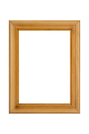 empty brown photo picture frame isolated on white background closeup.