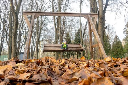 Cute little boy is playing on huge wooden swing in city Park in autumn. Happy child having fun enjoying outdoors. Imagens