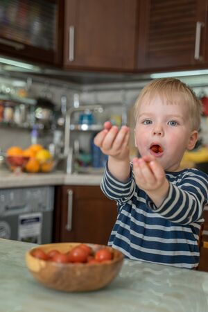Little cute blond boy eats fresh juicy red cherry tomatoes and offers them to his parents.