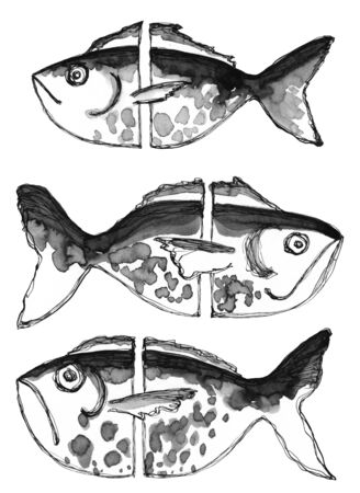 Set of three black and white abstract fish. Texture spots and stripes. Hand drawing ink and feather painting on white background clip art graphic elements for creative design and printable decor.