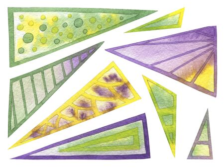 Set of abstract triangles green, yellow, violet gradient color. Hand drawn watercolor painting on white background clip art graphic elements for creative design and printable decor.
