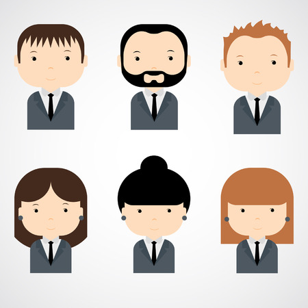 Set of colorful office people icons  Businessman  Businesswoman  Trendy flat style  Funny cartoon characters  Vector illustration   イラスト・ベクター素材