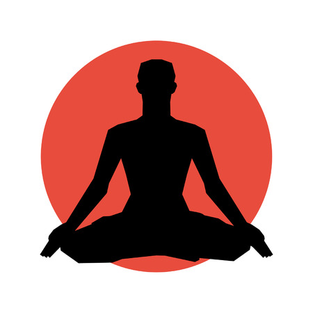 yogi: Human silhouette in yoga pose   Vector illustration  Background