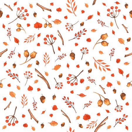 Colorful autumn seamless pattern made of hand drawn leaves, acorns and berries  Watercolor background  Vector illustration  Texture can be used for printing onto fabric and paper or scrap booking  Vector