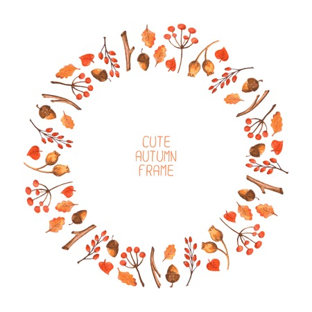 Vector watercolor autumn frame  Vector illustration  Background  Wreath made of hand drawn leaves, acorns and berries  Endless texture can be used for printing onto fabric and paper or scrap booking   イラスト・ベクター素材