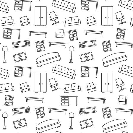 contorno: Modelo incons�til de los muebles Fondo hermoso Ilustraci�n vectorial con textura fin se puede utilizar para la impresi�n sobre tela y papel o chatarra de reserva